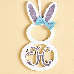 "Monogram Bunny Wall Hanging ""H"