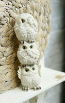 Stacked See Hear Speak No Evil Wise Acrobatic Fat White Owls Figurine Ow... - $19.99