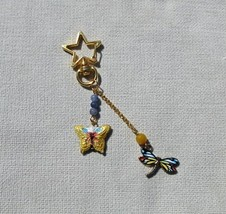 Golden Butterfly Dragonfly Gemstone Star Shaped Key Ring - Fashion Charm - $10.99