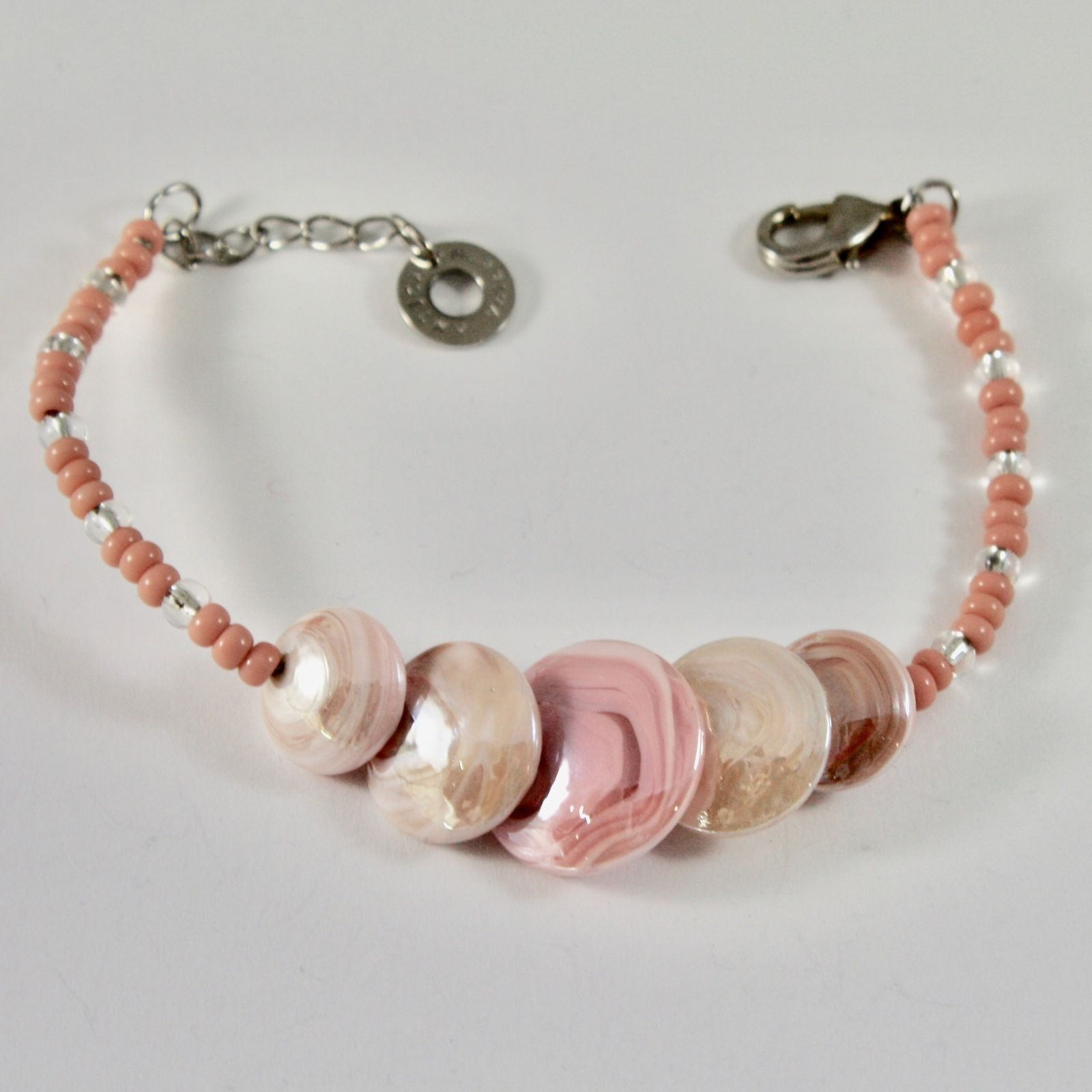 ANTICA MURRINA VENEZIA BRACELET WITH BIG PINK MURANO GLASS DISCS, SIZABLE