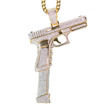 Men's Two Tone Gold Iced Out Pistol Necklace - $40.58