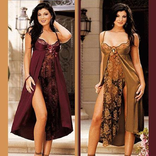 Primary image for Long Front Veiled Lace Night Gown w/ Adjustable Spaghetti Straps & Underwire Bra