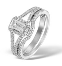 Emerald & Round Cut White CZ 10k White Gold Fn 925 Engagement & Wedding Ring Set - $76.94