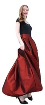 Women BURGUNDY A-Line MAXI Ruffle Skirt Outfit Taffeta Party Skirt High Waisted  image 2