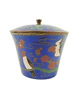 """Antique Song Birds Snuff Box Spice Pot Canister Cloisonné Blue Enamel  2""""  - $29.50"""