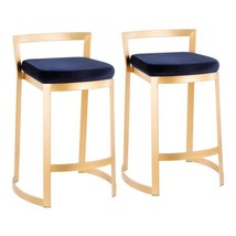 Fuji DLX 28 in. Gold Counter Stool with Blue Velvet Cushion (Set of 2) - $645.24