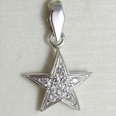 White Gold Pendant 750 18K, Pendant Star, with Zircon, Long 2.4 CM
