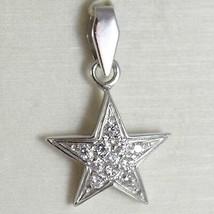 White Gold Pendant 750 18K, Pendant Star, with Zircon, Long 2.4 CM image 1