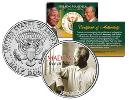 NELSON MANDELA 1918-2013 * MADIBA - FREE AT LAST * JFK Half Dollar US Co... - $8.86