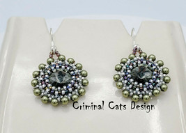 Swarovski Rivolis beaded dangle Earrings, hand made, new. OOAK - €26,21 EUR
