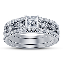 Princess Cut CZ 925 Sterling Silver White Gold Plated Women's Wedding Ring Set - $126.35