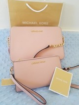 Michael Kors$400 set wallet +bag Large Crossbody Pastel Pink Saffiano Le... - $158.02