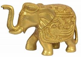 Gold Elegant Elephant Brass Statue Showpiece Sculpture - $93.98