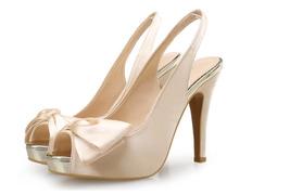 81S021 elegant slangbacks sandals w bowties top,US Size 4-10.5, light gold - $62.80