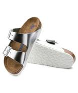 Birkenstock Womens Arizona Soft Footbed Leather Metallic Silver Sandals ... - £92.74 GBP