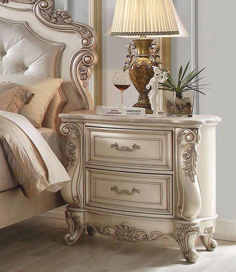 DAPHNE Traditional Antique White 5 pieces Marble Bedroom ...