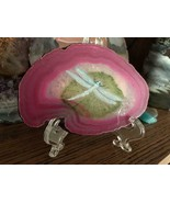 Dragonfly Painted Geode, Pink Brazilian Geode Slice, Hand Painted, Home ... - $48.00