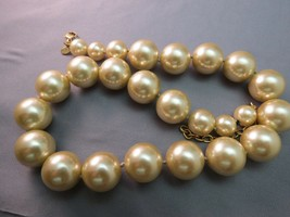 VTG Monet Big Pearl Necklace Hand Knotted Sable Cream Lobster 16mm Glass Beads image 2