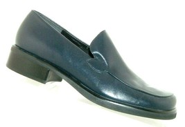 Franco Sarto Bocca blue leather square toe slip on loafer block heels 7.5M - $31.43