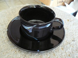 Mikasa Opus Black cup and saucer 8 available - $5.79