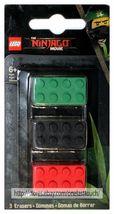 SANTOKI* 3pc LEGO MOVIE Brick Shaped Erasers BATMAN+NINJAGO New! *YOU CHOOSE* image 4