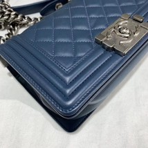 100% AUTHENTIC CHANEL BLUE QUILTED LAMBSKIN SMALL BOY FLAP BAG SHW image 5
