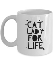 Cat Lady For Life - Funny Crazy Cat Lady Mom Girlfriend Gift Hearts Coff... - $19.55+