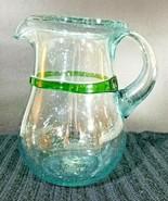 Mexican Handblown Glass Margarita Pitcher w/ Green Stripe - $22.05