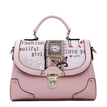 Fashion Print Big Ben Pink Leather Handbag