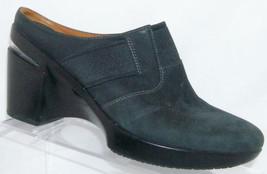 Cole Haan 'Air Sara' black nubuck leather round toe slip on clog mule heels 7B - $41.75