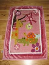 Lambs and Ivy Monkey Giraffe Turtle Alligator/Crocodile Pink Plush Baby Blanket - $44.54