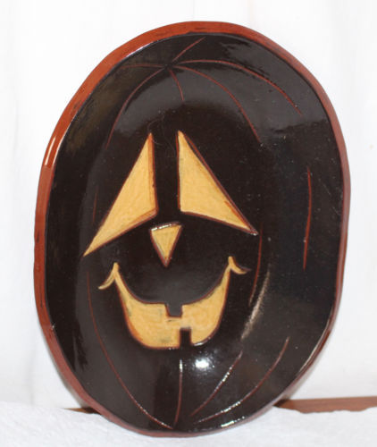 Eldreth Halloween Redware Plate / Bowl JOL Pumpkin Black with Orange Eyes Oval