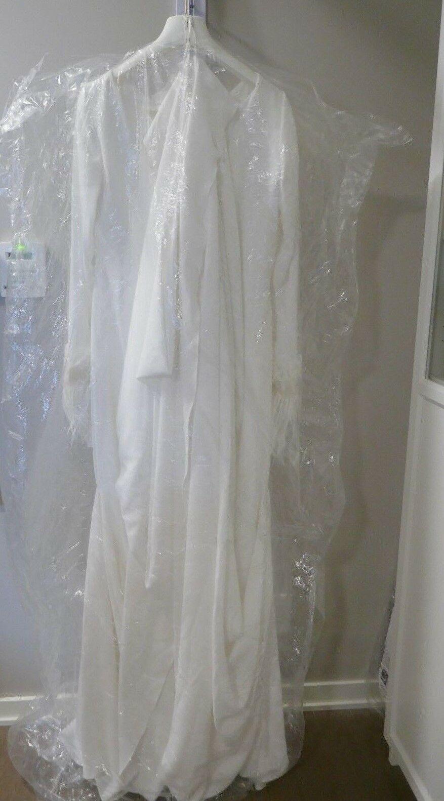 Aterlier Pronovias Barcelona Wedding Gown 'Nuria' Long Sleeve Modern Dress Sz 16