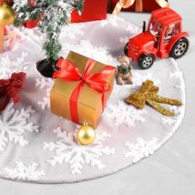 Christmas Tree Skirt Mat 90mm Double Layers Tree Jacquard Snowflake - $38.07