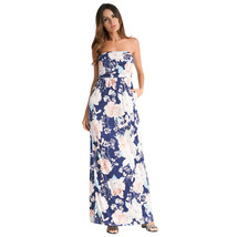 AOVEI Blue Off Shoulder Floral Print Backless Beach Party Sexy Long Maxi Dress - $21.99