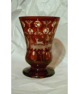 """Ruby Red Beautiful Cut to Clear Bohemian Tumbler Stag Deer Glass 4 1/2"""" - $34.64"""
