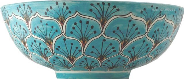 "Mexican Talavera Vessel Sink ""Turquoise Peacock"""