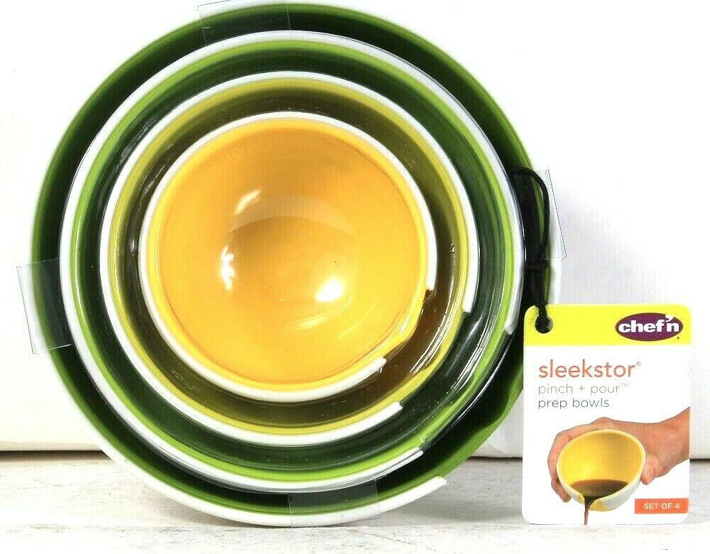 Primary image for Chef'n Sleekstor Pinch & Pour Green Tonal Set Of 4 Prep Bowls Nests For Storage
