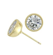 Glitzy 5A Cubic Zirconia Center Post Beaded Halo Gold EP Stud Earrings 4 Carats - $23.75