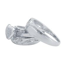 1/4 Ct T.W. Diamond Halo Heart Trio Matching Wedding Ring Set 14K White Gold Fn - $155.61