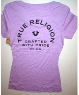 New Womens Designer True Religion Jean Purple Soft Tee Shirt Top Logo M ... - $39.60