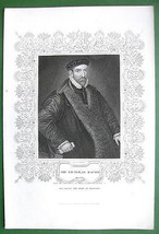 SIR NOCHOLAS BACON Philosopher - Antique Print with Ornamental Border - $13.49