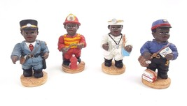 Vintage African American Resin Figurine Professional Doctor Fireman Poli... - $14.95