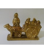 Vintage Brass  Figurine Lady with Dog and Wagon Made In Belgium - $38.08 CAD