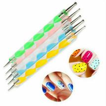 5pcs 2 Way Dotting Pen Marbleizing Tool Nail Art Design Dot Paint Tools USA - $4.99