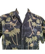 Royal Creations Large Vintage Palm Trees Huts Hawaiian Aloha Shirt - $29.69
