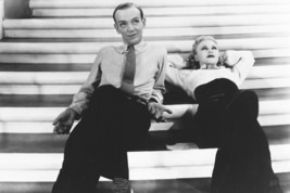 Ginger Rogers, Fred Astaire Top Hat Lying Back On Elegant Staircase 18x24 Poster - $23.99