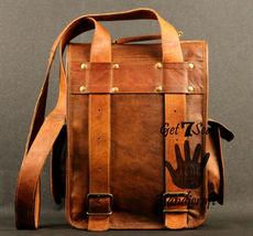 Real genuine men's leather backpack bag laptop satchel briefcase men vintage image 5