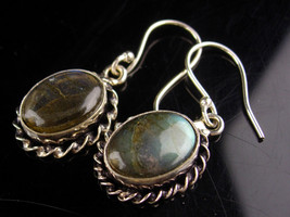 Sterling Labradorite Earrings - Black Moonstone - Mysterious stone cente... - $65.00