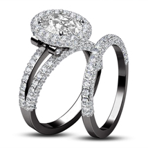 Bridal Engagement Ring Set 14k Black Gold Plated 925 Silver Round Cut White CZ - $130.50